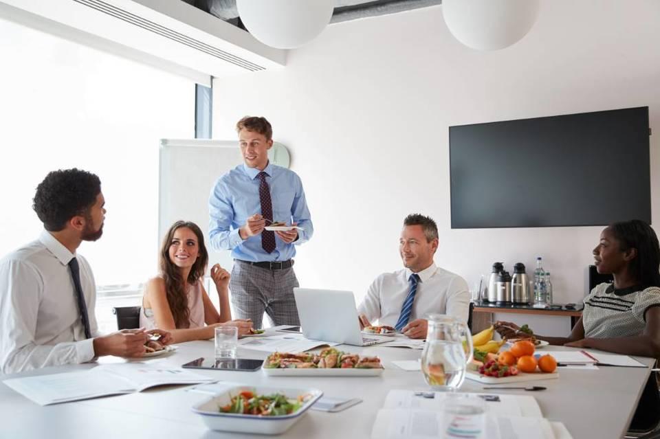 healthy boardroom lunch