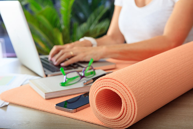 yoga mat in the office