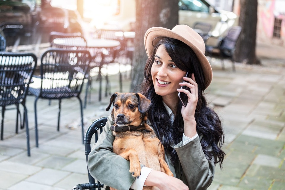 happy employee with dog