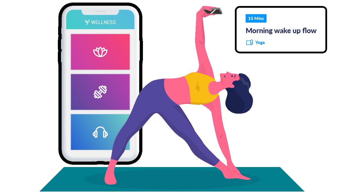 woman doing yoga with wellness hub