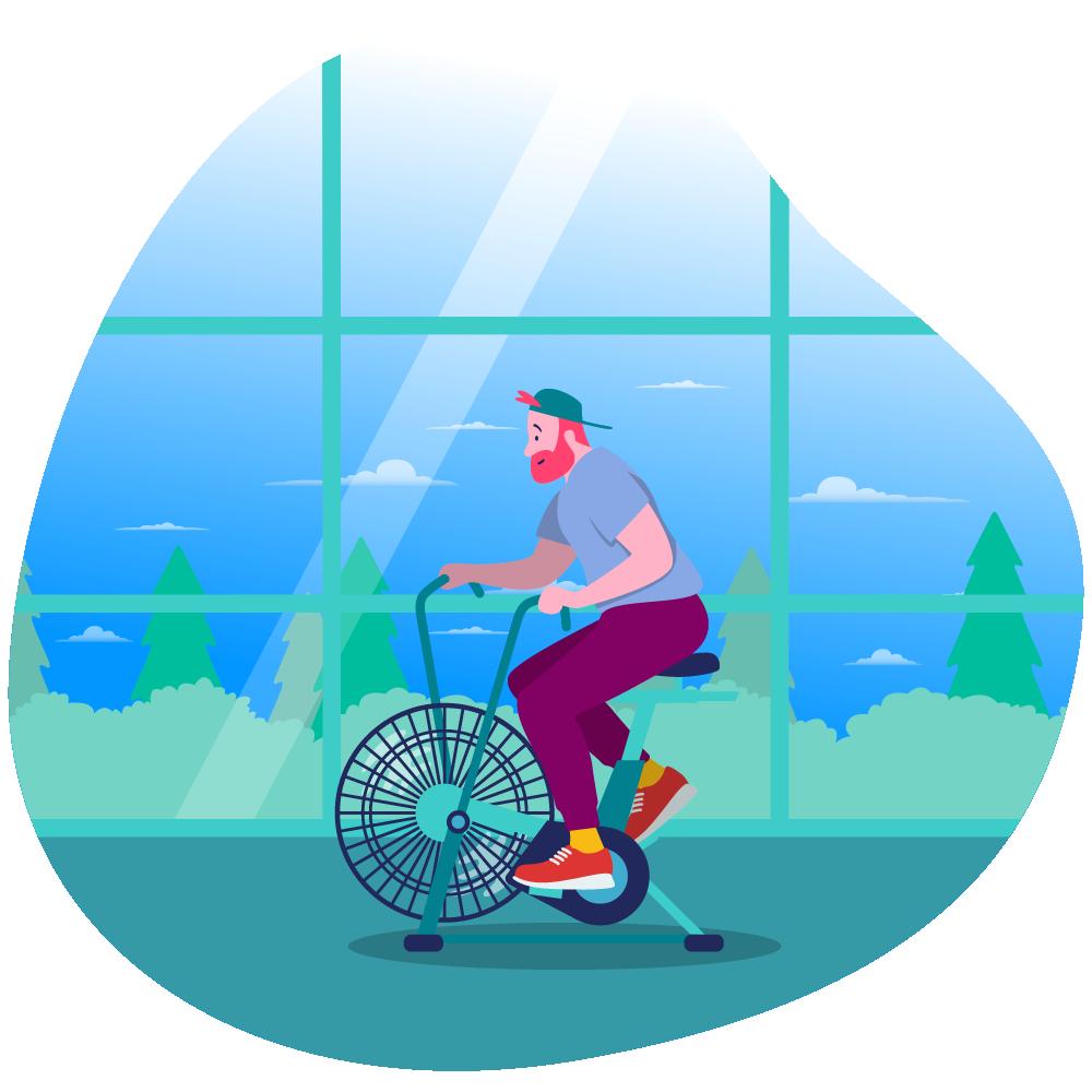 man on bike at gym