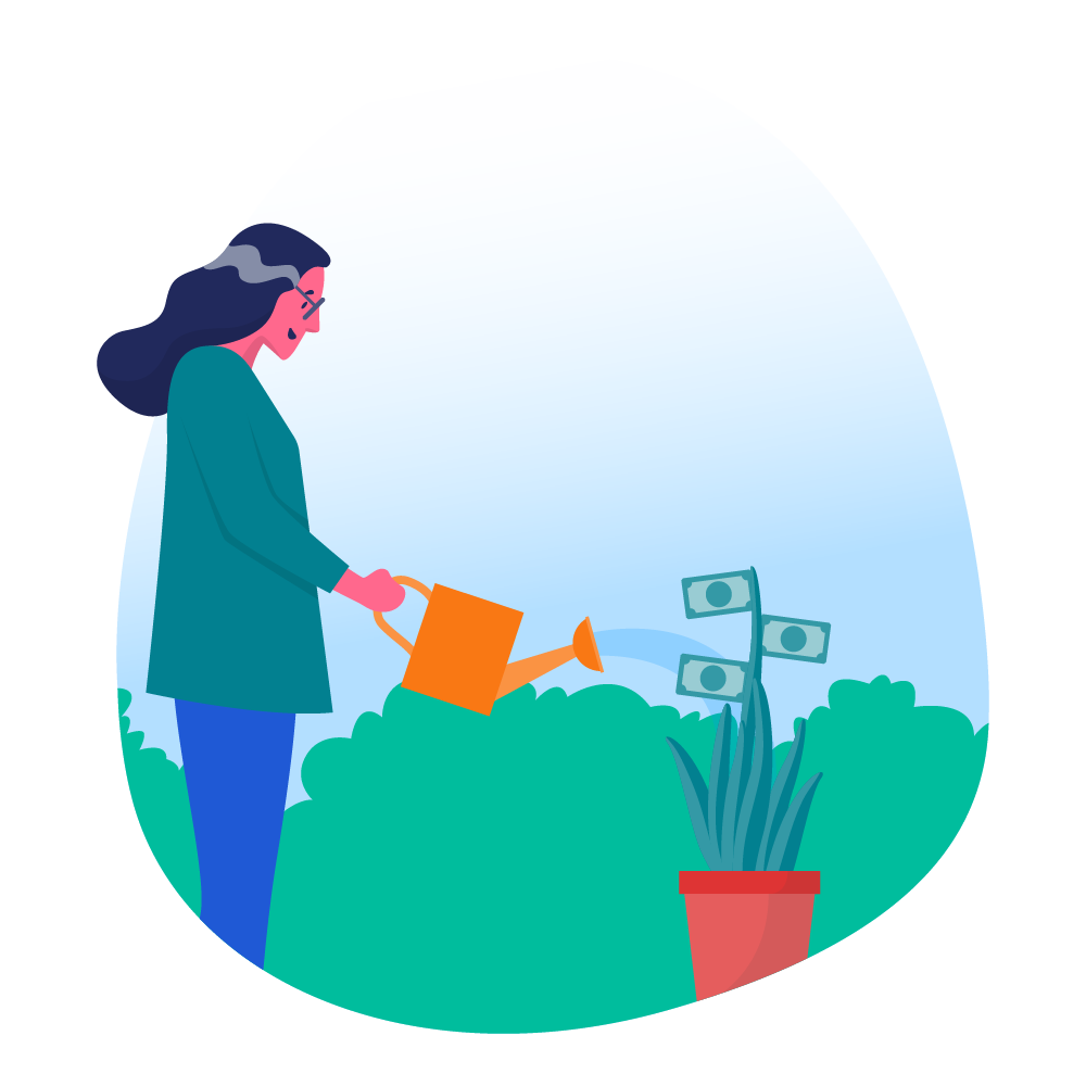 woman watering a money plant