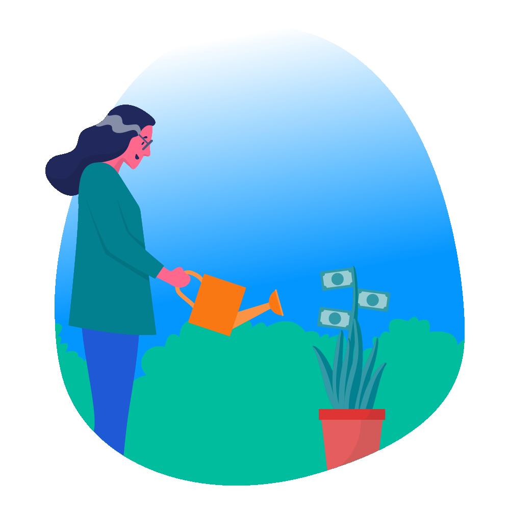 woman watering money plant