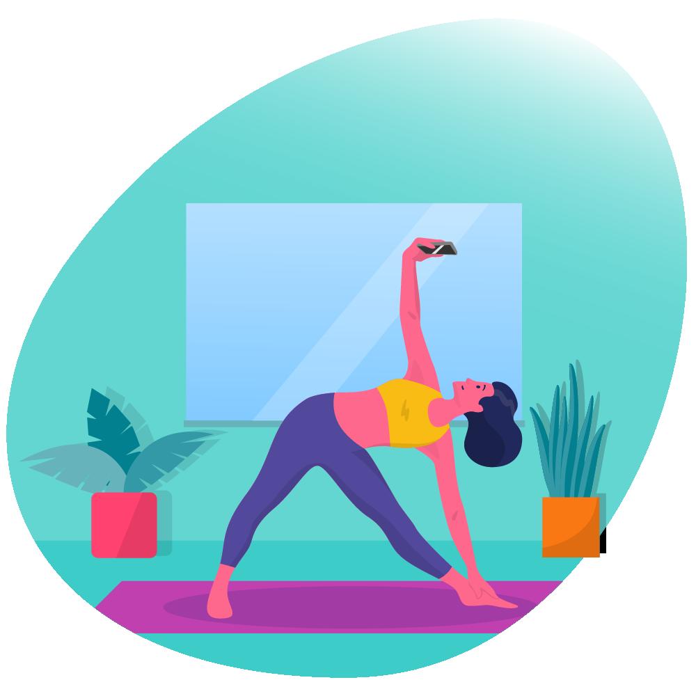 person doing yoga with wellness hub