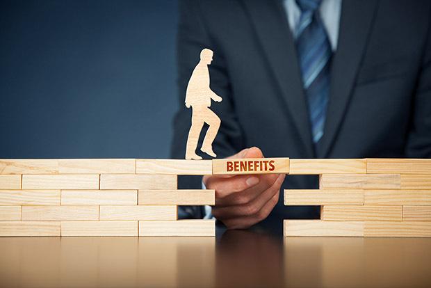 Benefits wood block creating bridge for employee