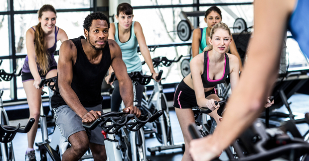 Group spin class at the gym