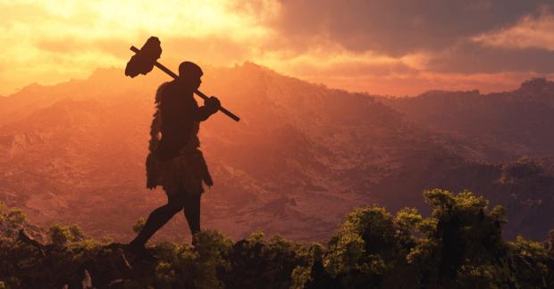caveman walking