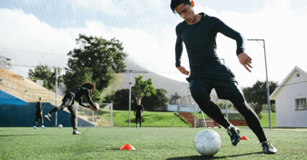 Young footballer training