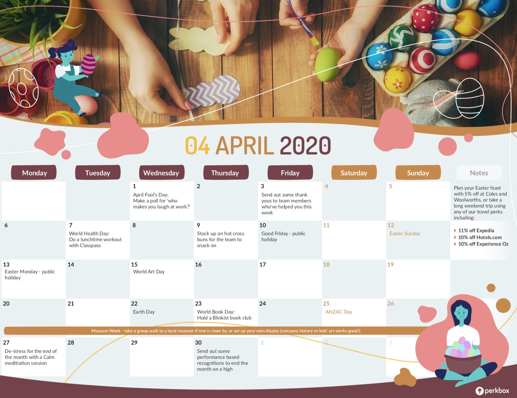 April calendar gated