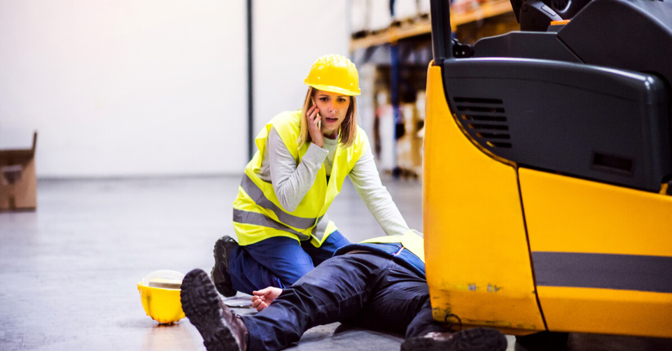 woman helping accident at work