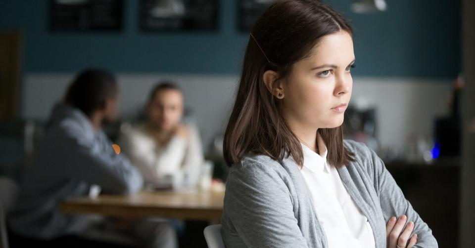 Woman looking upset