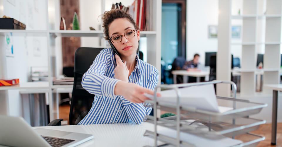 woman filing