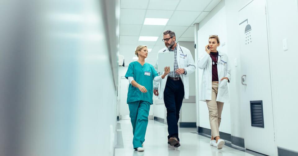 Doctors walking in a hospital