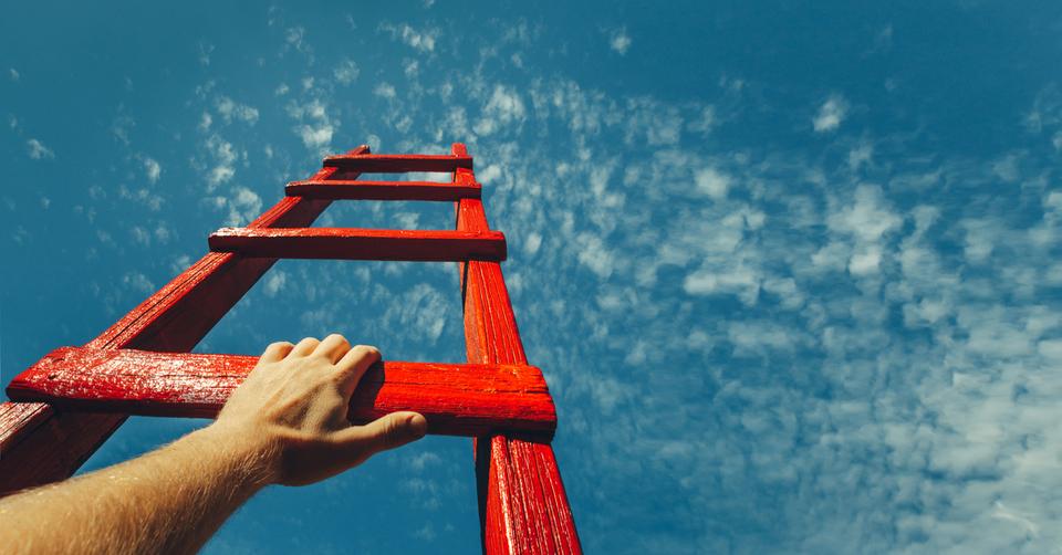 climbing up a ladder