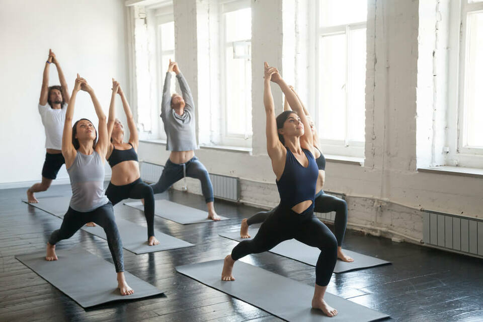 group doing yoga
