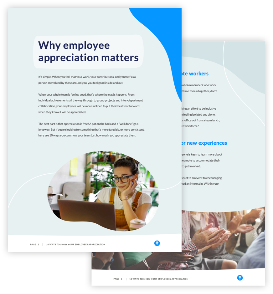 Ebook page preview: 10 ways to show your employees appreciation