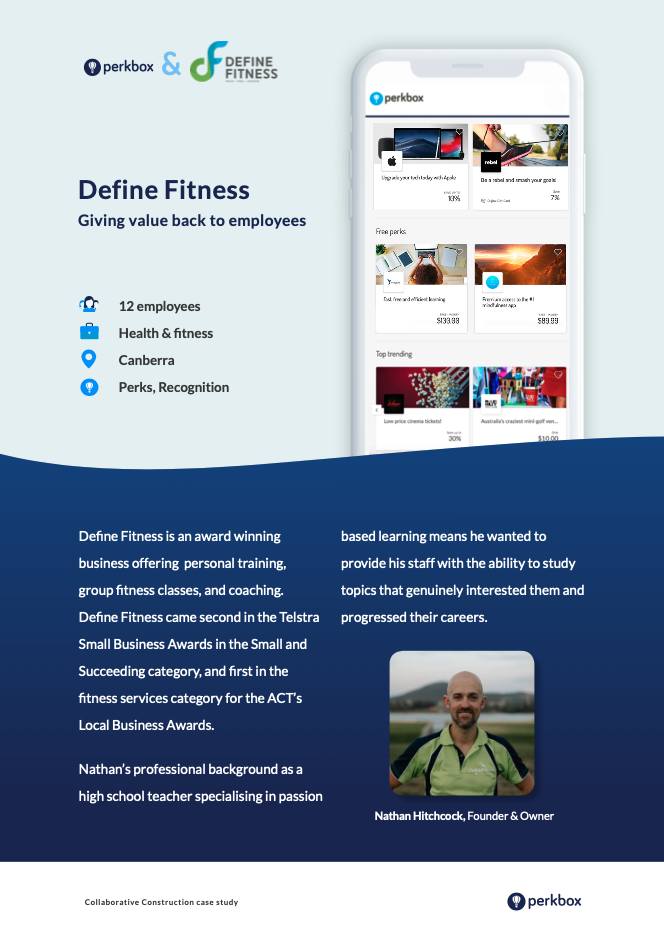 Define Fitness is an award winning business and uses Perkbox